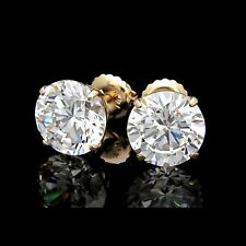 6.00CT ROUND CUT CREATED DIAMOND EARRINGS 14K SOLID YELLOW GOLD STUDS SCREW-BACK