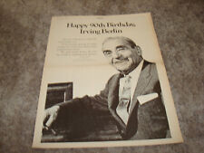 IRVING BERLIN 90th Happy Birthday ASCAP ad