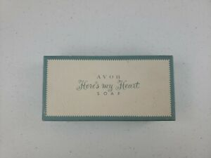 VTG AVON Here's My Heart Perfumed 2 Cakes of Soap Original Box Intricate Detail