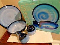 Sango Nova Blue 5 Pcs Completer Set Serving Platter vegetable Bowl Creamer Sugar