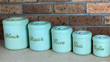 """Deluxe"" Set of MINT GREEN Nally Canisters ~ Nallyware - Flour,Sugar,Rice,Tea"