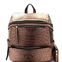 Ostrich Embossed Extra-Wide Large Women's Fashion Backpack Wallet SET