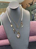 "Vtg Bib Statement Necklace Gold Cluster Dangle White Asst Pearl  Charm 18+"""