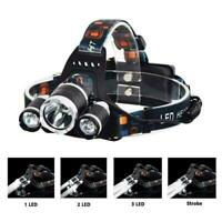 Waterproof 90000LM 3-Head  XM-L T6 LED 18650 Headlamp Headlight Head Torch Light