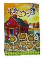 "12x18 12""x18"" Welcome Church Sunflowers Vertical Sleeve Flag Garden"