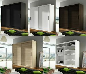 "Modern Bedroom Wardrobe ""BRAVA 1"" Double Sliding Doors Hanging Rail Shelves 180"