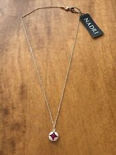 Nadri Rose Gold Plated Red Crystal Cubic Zirconia Pendant Necklace