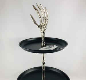 Halloween Silver Metal Skeleton Hand 2 Tiered Serving Stand Black Platter Plates