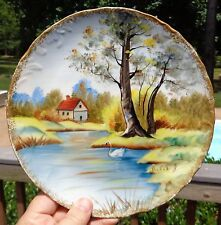 "(2) 8.5"" HP Dishes Plates SCENERY Swan River Lake Signed Julie J Vtg Countryside"