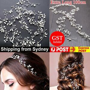 Women Crystal Pearl Headband Bridal Vine Headpiece Hair Wedding Headdress Chain