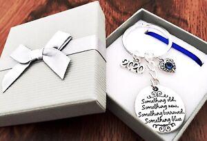 BRIDE TO BE 2021 SOMETHING OLD SOMETHING BLUE KEYRING KEEPSAKE GIFT IN GIFT BOX