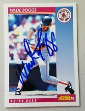 Autographed 1992 Score Baseball Card Wade Boggs - Boston Red Sox