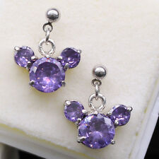 Cute Disney Mickey Mouse Purple Crystal CZ Ear Stud Earrings Women New Jewelry