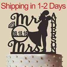 Personalized Cake Topper with Wedding, Acrylic, Mr and Mrs , Made in USA 6''