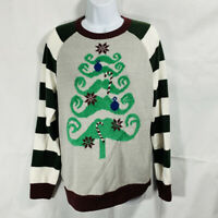 Womens UGLY CHRISTMAS SWEATER Brand GREEN BROWN STRIPED Mustache Tree Medium