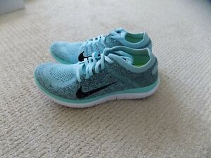 NEW WOMENS 7 NIKE FREE 4.0 FLYKNIT RUNNING SHOES GLACIER ICE BLUE WHITE 631050