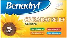 Benadryl Cetirizine Allergy One a Day Hayfever Cat Dog Dust Allergy Tablets 7