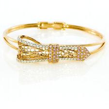 Real 0.70ct Natural Fancy Pink Diamonds Bracelet Bangle 18K Solid Gold 14G