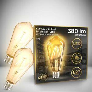 2x LED Leuchtmittel Vintage Filament Industrie Lampe E27 Retro Glühbirne ST64 4W