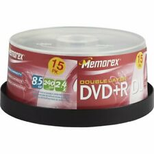 Memorex DVD+R dl  8.5GB Double Layer 2.4x 15 Pack Spindl 240min / 15 disc pack