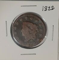 1822 US LIBERTY Coronet Head Large Penny One Cent Coin US Currency 50421H