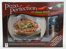 New Homemade Pizza Perfection Kit Baking Stone Book Wire Rack Metal Cutter