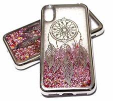 For iPhone X - Silver Dream Catcher Pink Glitter Stars Liquid Water Case Cover
