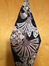 "$39 Echo silk scarf  diamond 42 by14"" floral black tones  #373"