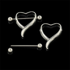 1 Pair  Surgical Steel Love Heart Nipple Shields Bar Navel Ring Body Piercing L7