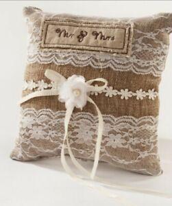 Wedding ring cushion / ring bearer / Lace / Pearl / Mr & Mrs / Bespoke /Pillow