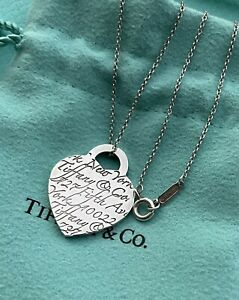 Tiffany & Co Notes New York Fifth Avenue Script Heart Tag Charm Pendant Necklace