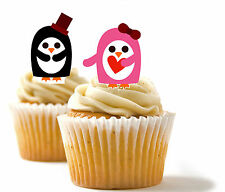 ✿ 24 Edible Rice Paper Cup Cake Toppings, Cake decs - Mr and Mrs Penguin ✿