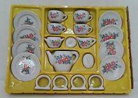 Vintage Children's 21 Piece China Miniature Toy Tea Set Porcelain New Old Stock