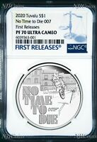2020 James Bond 007 No Time To Die .9999 SILVER PROOF $1 1oz COIN NGC PF70 FR