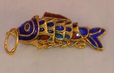 Vintage Cloisonne Enamel Articulated Fish Pendant Blue and Gold Tone Koi lot #2