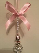 Personalised Pram Charm - Silver Plated Pink Baby Rattle With Swarovski Crystal