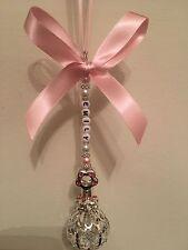 Ciondolo carrozzina personalizzata-argento placcato rosa Baby sonaglio con Swarovski Crystal