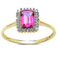 Plata de Ley Chapada en Oro Topacio Rosa & Anillo con Diamante