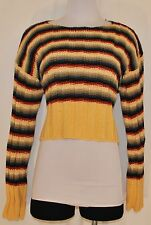 VTG 80s Multi Colored Striped Cropped Sweater Pullover Size L
