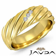 3 Stone Diamond Mens Excellent Half Wedding Band 7mm Ring 14k Yellow Gold 0.11Ct