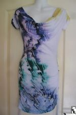 JANE NORMAN CASUAL WHITE & MIXED COLOURS DRAPEY NECK RUCHED DRESS SZ S L@@K!!!!