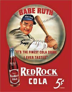 Babe Ruth Red Rock Cola Metal Sign New York Yankees Soda Pop New Baseball Repro