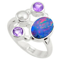 5.16cts Natural Blue Doublet Opal Australian 925 Silver Ring Size 6.5 P52570