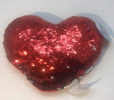 RED & SILVER REVERSE SEQUIN HEART PILLOW