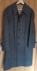 Vintage CROMBIE Pure New WOOL Herringbone TWEED Long COAT Size 42 S