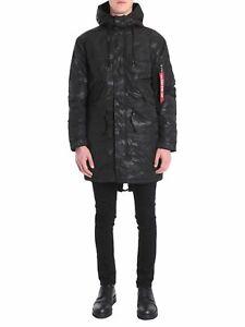 Alpha Industries Hooded Fishtail CW Field Jacket Men's Black Parka Outwear
