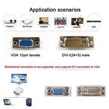 DVI-D DVI Mâle 24+5 Broches vers VGA Femelle SVGA 15PIN Écran Vidéo Adaptateur Convertisseur