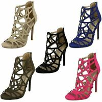 Ladies Spot On Stiletto Heeled Strappy Evening Party Sandals F10414 ~ K