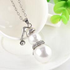Cute 1PC Women&Girl Snowman White Pearl Pendant Long Necklace Jewelry Hot Sale