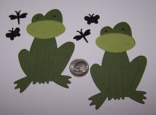 2 Frogs with Flies Premade PAPER Die Cuts / Scrapbook & Card Making